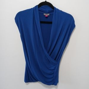 Vince Camuto Draped Cross Front Blue Top Size XS